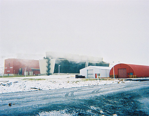 Geothermal power station at Krafla, near Myvatn, Iceland.